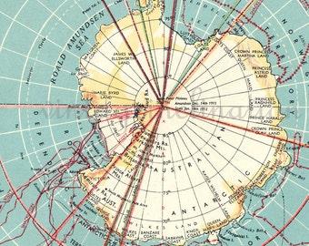 Vintage Map Antarctic and Arctic Ocean Alaska Canada Germany polar Greenland ORIGINAL 1940s