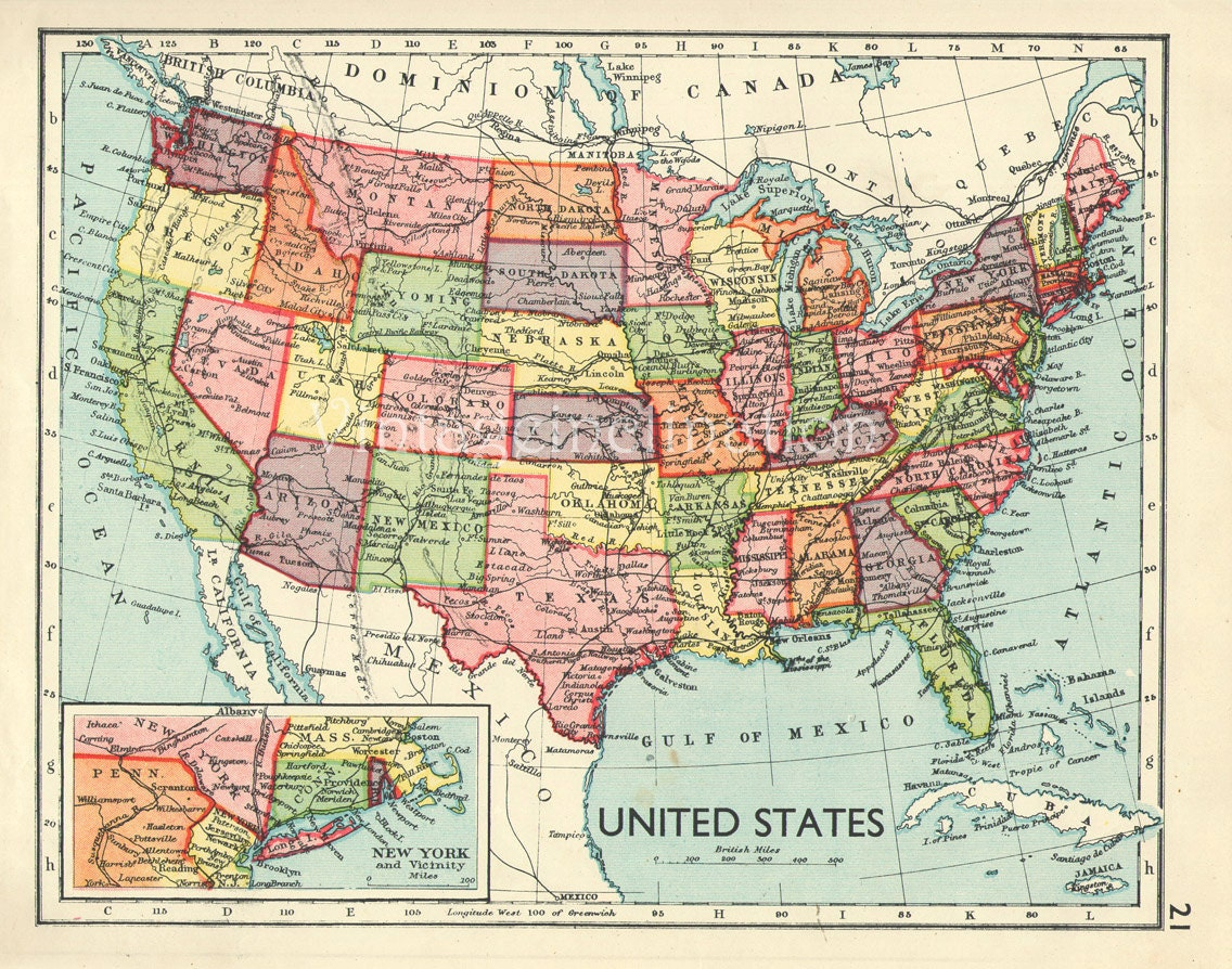 Vintage USA Map  United States Of America Map - Full usa maps