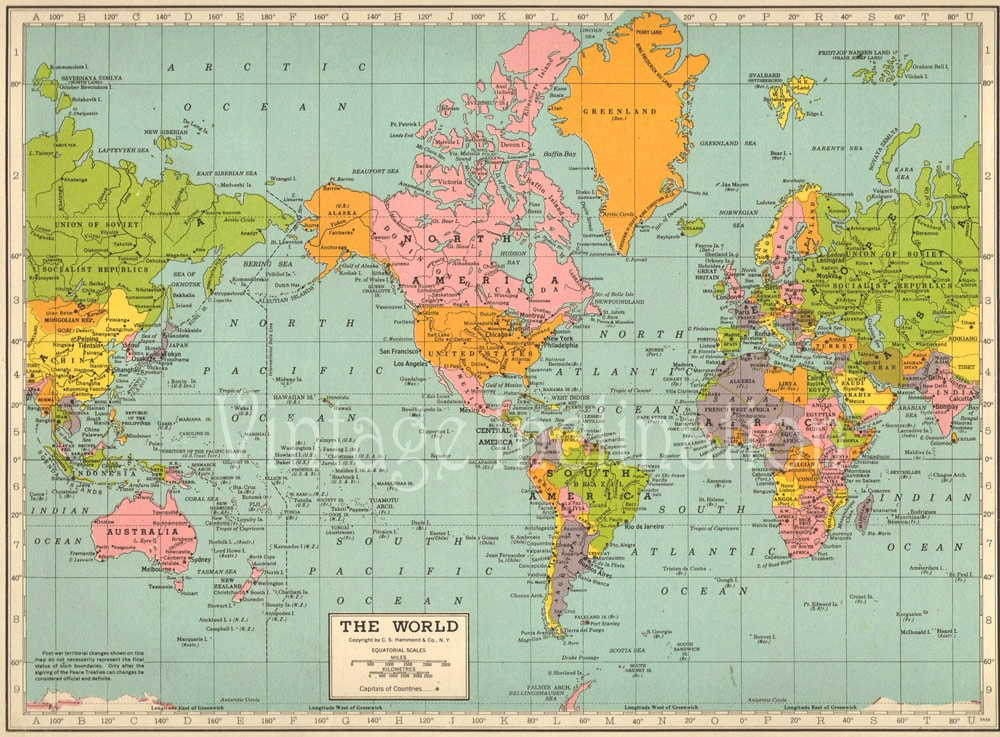 REDUCED Antique vintage WORLD Map 1940s ORIGINAL Map of the