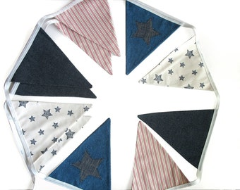 Blue Denim, Stars & Stripes Flag Bunting. Flag Bunting. Party, Bedroom Decor Pennant Banner Decoration