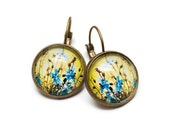 Earrings, Cornflowers, Photo earrings, Yellow and blue, vintage, gift box
