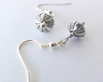 Silver beaded dangle earrings - one of a kind jewelry