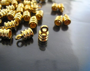 Finding - 10 pcs Gold Helix Shape Leather Cord Ends Cap with Loop For Round Leathers 8mm x 4.5mm ( inside 3mm Diameter )