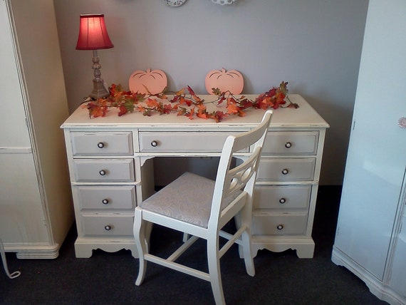 Painted and Distressed  Shabby Chic Desk Chair Set