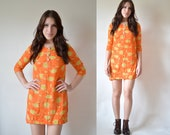 Vintage 90's Sheer Orange Micro Mini Dress