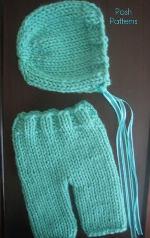 Knitting Pattern Knit Baby Bonnet And Baby Pants Pattern Set Etsy