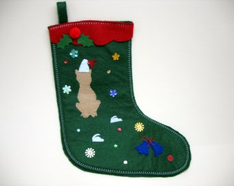 Tan Cat & Mice on a Green Felt Christmas Stocking