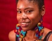 Crochet Earrings - Large Earrings - Multicolor Earrings - Red, Yellow, Green, Blue, Purple - TAMI
