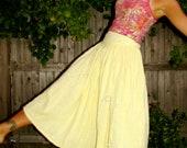 Spring Pastel Yellow Greek Boho Gypsy Prairie Hippie Skirt