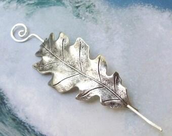 Silver Leaf Shawl Pin, Oak Leaf Scarf Pin, oak leaf shawl pin, silver shawl pin, hair slide, oxidized, fall fashion, silver filled
