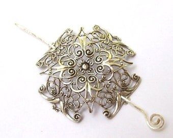 Celtic Cross Shawl Pin, Celtic Cross Scarf Pin, Celtic hair Slide, silver shawl pin, pagan, sweater pin, fall fashion, silver scarf pin