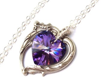 Amethyst Necklace, Victorian Heart Necklace, purple heart, Swarovski crystal, wire wrapped, amethyst heart, silver heart, pendants