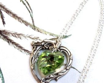 Peridot Necklace, Victorian Heart Necklace, green heart, Swarovski crystal, wire wrapped, fall fashion, peridot heart, silver heart