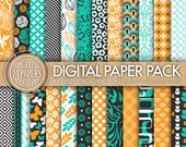 24 Pack Digital Paper // Gray Orange Teal White // Damask Floral Geometric // Commercial User // 24021