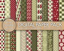 Christmas Holiday 24 Pack Digital Paper - Damask Floral Geometric - Red Green  - 300 DPI - JPG Format - 24159