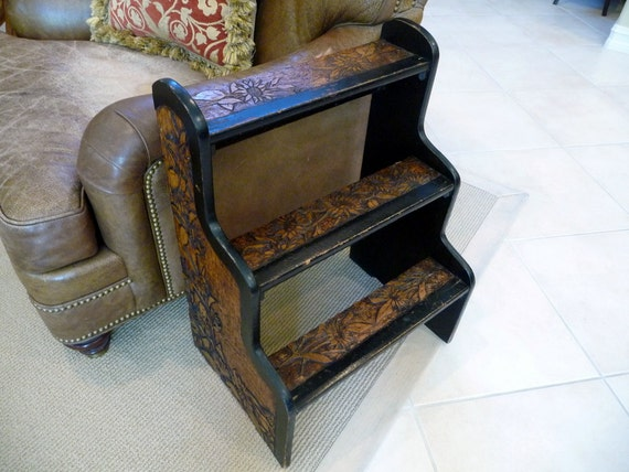 Vintage Step Stool Side Table// European Pyrography Linden Wood Stepstool Arts and Crafts// Art Nouveau// Rustic Decor