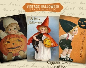 Vintage Halloween Digital Collage Sheet - 2.5 x 3.5 Inch Images Tags ACEO ATC - INSTANT Printable Download