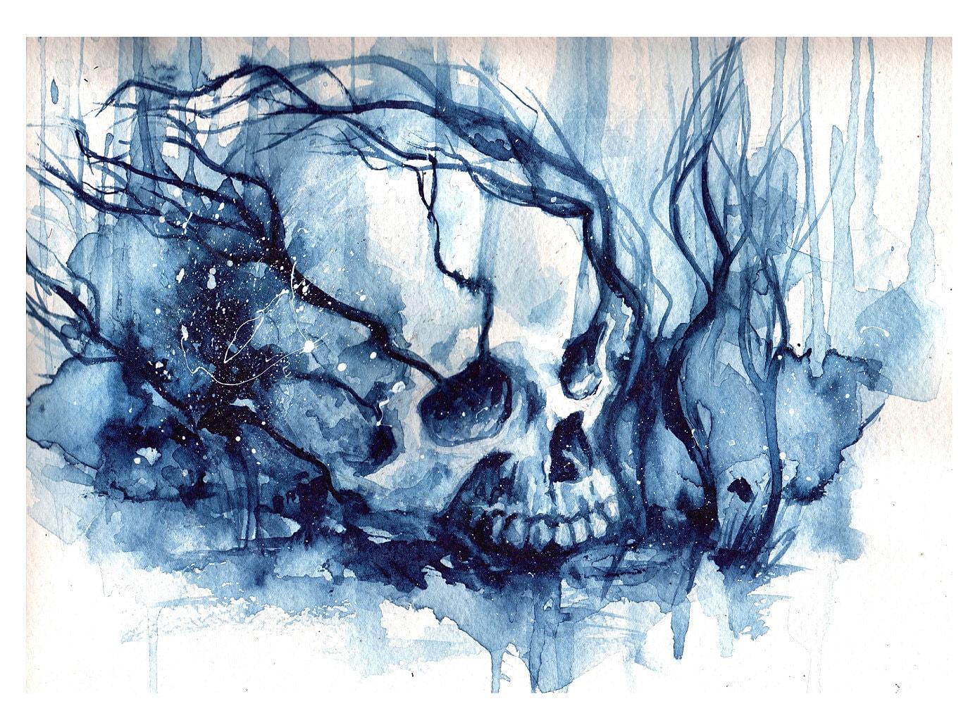 Blu Winter Skull Watercolor On Paper