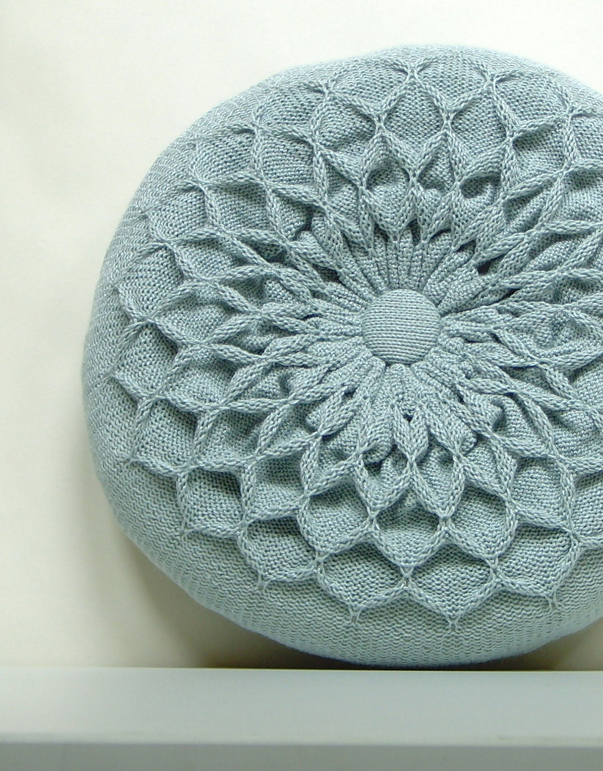 Knitting Pattern For Round Cushion : Pillow SALE Blue Knitted Round Waffle Cushion Green Blue