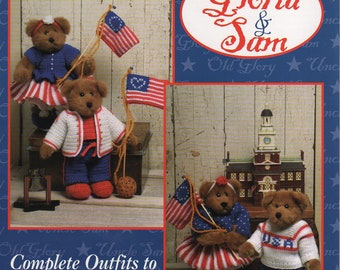 PDF Pattern - Patriotic Teddy Bears To Knit and Crochet - GLORIA and SAM - Jao Enterprises - 4th of July - Free Shipping - Instant Download