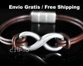 Men's Leather Bracelet - Wristband - Jewelry - Infinity symbol - Eternity - Eco-Friendly - Personalized - Magnetic clasp - Unisex Gift