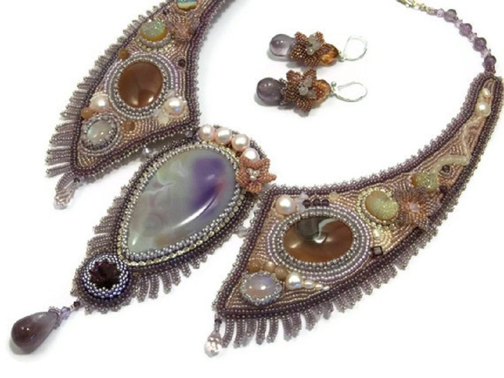 Bead embroidery necklace and earrings set