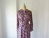 Purple plaid dress // 80s ruffle dress // office fashion