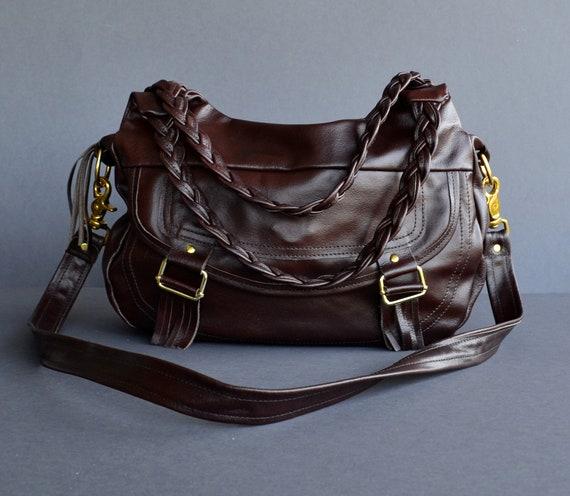 SALE 50%, Oxblood Leather Bag, Purse, Handbag, Cross Body Bag with 4 Pockets