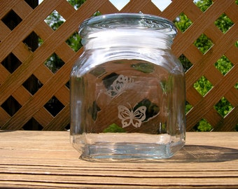 Glass Container With Etched Butterflies Design