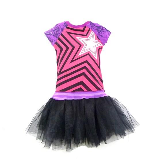 Pink Girls Dress Black and Purple Little Girls Dress Girls Tutu Dress Upcycled Girls Dress Star Dress Size 4