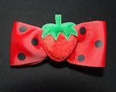 Cute big fluffy strawberry hair bow red/black polka dots