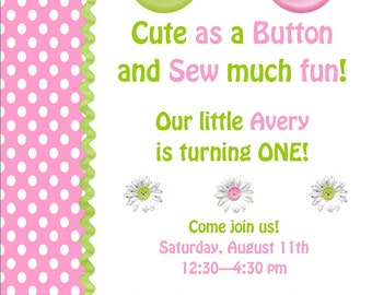 Cute as a Button Invitation and matching address labels, banners, gift tags and more with DIY Printable