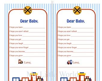 Baby Advice Cards - Train Theme DIY PRINTABLE