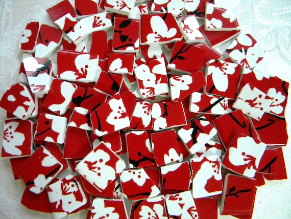 Broken China MOSAIC Tiles - White Cherry Blossoms on Red - Upcycled Plates