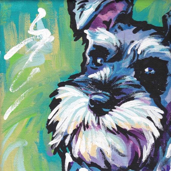 Schnauzer art print modern Dog pop art bright colors 12x12