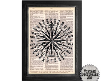 Nautical Compass - Print on Vintage Dictionary Paper - 8x10.5 -