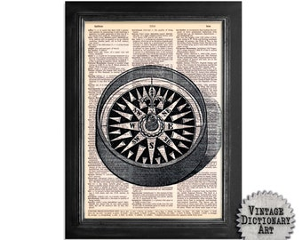 Vintage Compass - Print on Vintage Dictionary Paper - 8x10.5