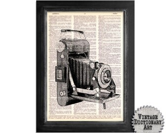 Black & White Vintage Folding Camera - Print on Vintage Dictionary Paper - 8x10.5