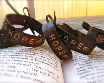 Leather Cuff Bracelet - Unisex - Hand Stamped - One Size -
