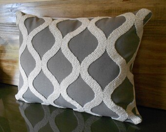 Gray and cream tufted trellis lumbar throw pillow