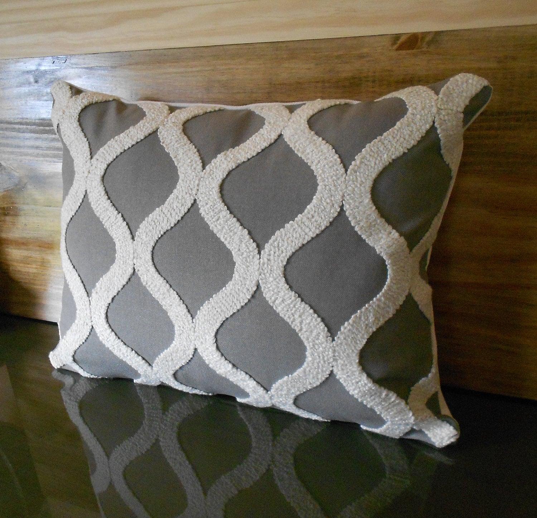 Gray and cream tufted trellis lumbar throw pillow