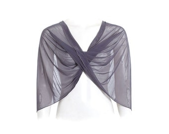 Grey Sheer Shawl , 4 Options Top- Shawl, Shrug , Twist And Infinity Scarf, Bridesmaid Shawl , Gift For Women, Modest Everyday Fashion CF106