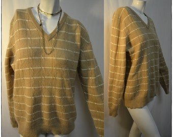 Luxe Christian Dior Camel light Tan Brown Beige Striped Sweater Jumper  Large