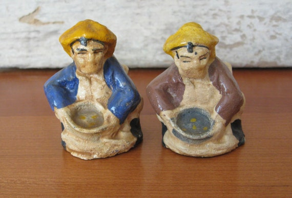 Vintage Gold Miner Salt and Pepper Shakers Panning California Gold Rush 49ers Chalkware Figurine Collectible Antique Rustic Home Decor