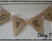 Baby Girl Burlap Banner for baby shower, hospital door decoration