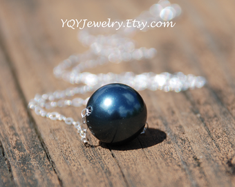 L size Venus Necklace---Large, Tahitian, Swarovski Pearl, Sterling Silver or 14k Gold Filled Necklace, Anniversary, Mom, Wedding