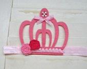 Pink Felt Crown Headband Princess or Birthday Baby Toddler Kids Hair Band Bow Flower