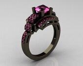 Modern Edwardian 14K Black Gold 1.0 Carat Pink Sapphire Ring R202-14KBGPS