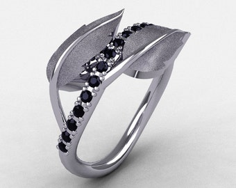 Natures Nouveau 14K White Gold Black Diamond Leaf and Vine Wedding Ring, Engagement Ring NN113S-14KWGBD