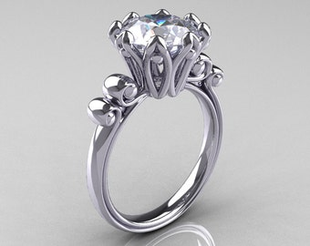 Modern Antique 14K White Gold 3.0 Carat White Sapphire Solitaire Engagement Ring AR135-14KWGWS